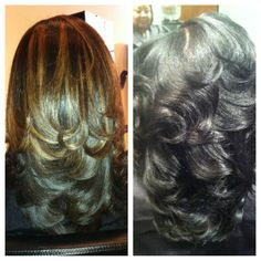 On left Natural hair on the right relaxed hair styled. Natures Hair Butters are just that, chemical free, natural and best of all, great for up-dos and protective styling, promotes hair growth and length. http://www.bareindulgence.NET