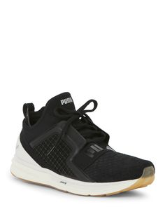 Puma Black & White Ignite Limitless Reptile Running Sneakers