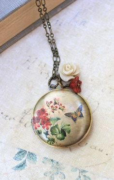 Flower Locket Necklace Rose Charm Long Necklace by apocketofposies