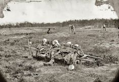 """April 1865. """"Cold Harbor, Virginia. Collecting remains of dead on the battlefield after the war."""" Memento mori. Wet plate by John Reekie."""