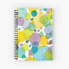 'watercolor green bubbles spring pattern' Spiral Notebook by Florcitasart Green Bubble, My Drawings, Spiral, Original Artwork, Bubbles, My Arts, Notebook, Watercolor, Art Prints