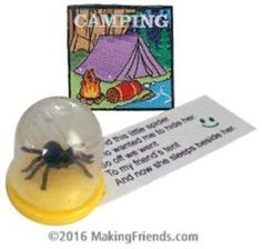 The only spiders your Girl Scouts will want to see on their next camping trip are the ones in these SWAPs since they are trapped under a dome. Kit includes one free encampment patch