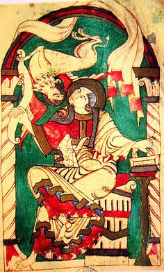 ROMANESQUE - PAINTING - St. Mark from a Gospel Book produced at the monastery of Corbie - c. 1050 - Bibliotheque Municipale - Twist and turning movement of lines - firmly drawn contours filled with bright, solid colors - overlapped planes. Abstract clarity and precision - knit together into single, unified structure. LOCATION: AMIENS, NORTHERN FRANCE