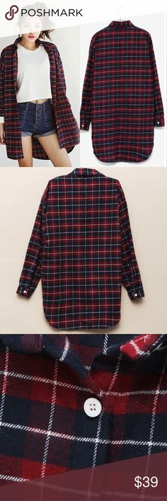 """Dark red soft flannel Material: cotton blended. Super comfy and chic.Measurement: bust/length: 2XL: 55-56""""/ 34-36"""", XL: 53-54""""/32.5-33.5"""", L: 52-53""""/ 32-33"""", M:48-50""""/31.5-33"""" S: 41-42""""/31-32"""" Tops"""