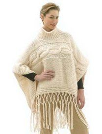 Fisherman's Poncho in Lion Brand Wool-Ease Thick & Quick - 40490