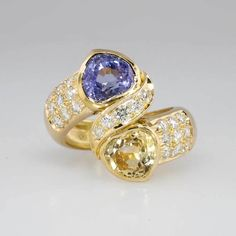 Unbelievable 5.36ct t.w. Lavender & Yellow Sapphire Diamond Bypass Ring 18k