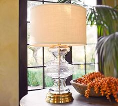 This lamp has more presence than you might think. It is very heavy and nice and tall.Jasmine Glass Table Lamp Base #potterybarn
