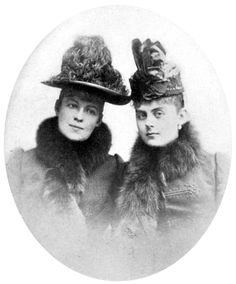 The last photograph taken of Baroness Mary v. Vetsera (at right), wearing the dress in which she was buried. On the left is Countess Marie Larisch, cousin of Crown Prince Rudolf who arranged assignations between him and Vetsera.