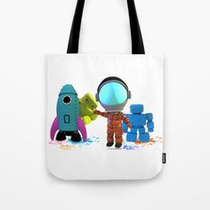 Bots and the Astronaut Tote Bag