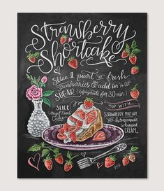 Strawberry Shortcake Recipe Print Recipe Chalk Art by LilyandVal