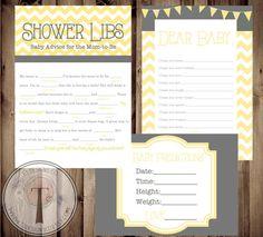 Baby Shower Game Cards, chevron, baby libs, dear baby, baby guess, baby prediction, chevron, aqua, boy, girl, babylibs, shower games