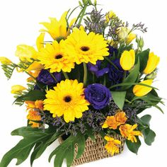 summer flower arrangements | summer flower basket arrangement pa12