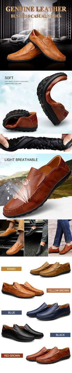 Big Size Men Genuine Leather Comfortable Slip On Business Casual Shoes - Men's Style Me Too Shoes, Men's Shoes, Shoe Boots, Dress Shoes, Shoes Men, Mode Masculine, Business Casual Shoes, Style Masculin, Sharp Dressed Man