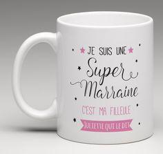 Cadeau marraine, mug personnalisé. Création le monde de bibou