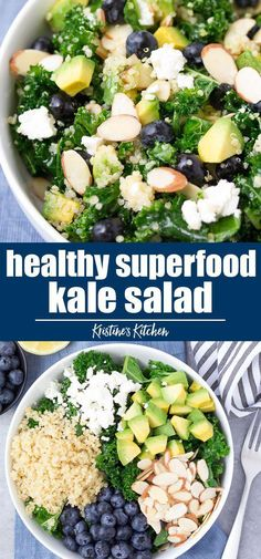 superfood kale salad with lemon dressing. This quinoa kale salad is one of our favorite make ahead lunch recipes!Healthy superfood kale salad with lemon dressing. This quinoa kale salad is one of our favorite make ahead lunch recipes! Kale Superfood, Kale Quinoa Salad, Quinoa Salat, Kale Salad Recipes, Vegetarian Recipes, Recipes With Kale, Salad Recipes Easy Healthy, Healthy Salad For Lunch, Healthy Recipes