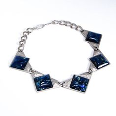 YSL Dichroic Blue Glass Necklace Runway Couture