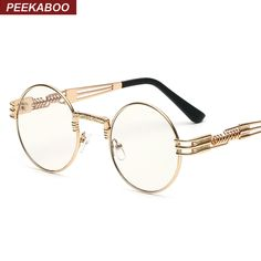 Peekaboo clear fashion gold round frames eyeglasses for women vintage steampunk round glasses frames for men male nerd metal Sunglasses Price, Pink Sunglasses, Mirrored Sunglasses, Sunglasses Accessories, Gold Rimmed Glasses, Small Round Sunglasses, Style Steampunk, Gothic Steampunk, Steampunk Fashion