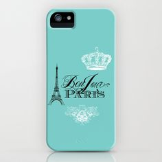 Bonjour Paris iPhone & iPod Case #bonjour #paris #french #phone #teal #eiffel