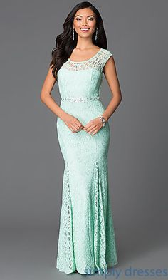 Shop Simply Dresses for Sequin Hearts full length lace gowns for prom. Long mint and silver floor length dresses to formal dances, receptions and parties.