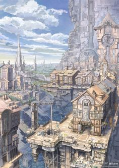 detailed city atmospheric and like steampunk