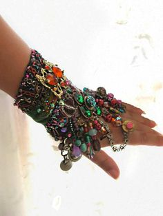 Enchant Gypsy Jangle Bracelet, Bejewelled, Antique Embroidered, Beaded, Purple, Green, Turquoise, Coral, Bohemian. $295.00, via Etsy.