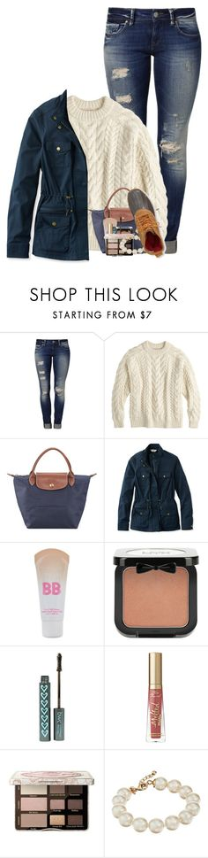 """""""Even the darkest night will end & the sun will rise☀️💙"""" by haileymartin12 ❤ liked on Polyvore featuring Mavi, J.Crew, Longchamp, L.L.Bean, Maybelline, NYX, Too Faced Cosmetics and Kate Spade"""