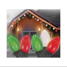Set of 25 Opaque Red, Clear White and Green C7 Patio Christmas Lights - Green Wire