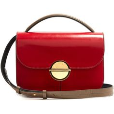 Marni Tuk medium tri-colour leather shoulder bag (€1.730) ❤ liked on Polyvore featuring bags, handbags, shoulder bags, red multi, red leather purse, leather crossbody, crossbody purse, leather crossbody handbags and red handbags
