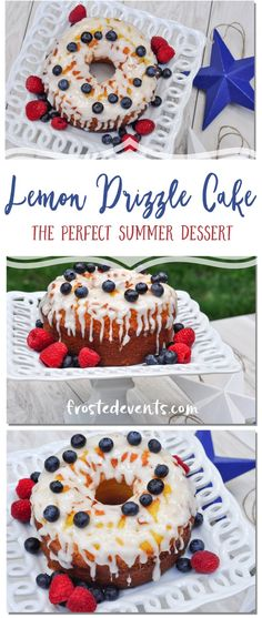Fourth of July Desserts- Lemon Drizzle Cake Recipe Topped with Berries