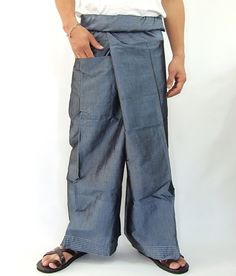 Simulate thai silk fisherman pants handmade by my mom long legs style 044Si