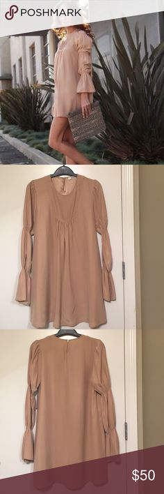 Aiko Silk Long Sleeved Dress! 100% Silk Babydoll Dress with cinched sleeves! Single button closure in the back. Cute worn with Black Tights and Booties! Aiko Dresses Long Sleeve