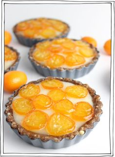 Kumquat and Coconut Cream Tarts! Tastes like a fancy version of a creamsicle. Vegan and gluten free. #itdoesnttastelikechicken