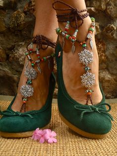 <3!!!  BOHEMIAN BAREFOOT WEDDING barefoot sandals Anklets crochet Gypsy Sandals sole less shoes crochet anklets antique flowers. $74.00, via Etsy.