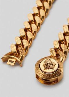 Mens Gold Bracelets, Mens Gold Jewelry, Mens Gold Rings, Rings For Men, Jewelry For Men, Versace Jewelry, Men's Jewelry Rings, Jewellery, Gold Chain Design