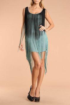 Nuvula Fringe Dress In Black & Aqua