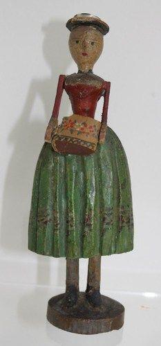 1850 Erzgebirge/bohemia/böhmen Wooden Doll/puppe Brides Box Spanschachtel Rare