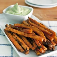 Roasted sweet potato 'fries' side dish or party appetizer, spiced up ...