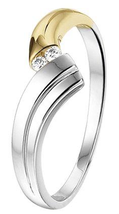 Gouden/zilveren ring met diamant - Lucardi.nl