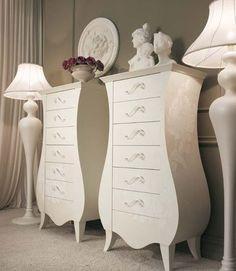 New Baroque design chiffonier / lacquered wood / white GLAMOUR GIUSTI PORTOS