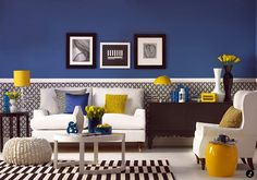 bright-blue-living-room decorate with bold colours
