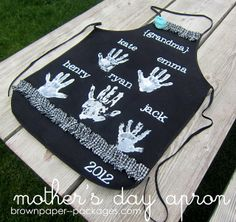 Mother's Day Apron - Great gift for Moms or Grandmas..kids handprints. Great memorabilia...