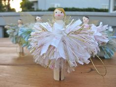 Tree Fairies - clothespeg, skeleton leaf 'gold' wings, scrap fabric tutu - from bloume N/A