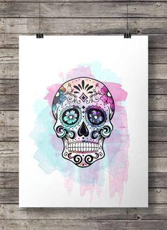 Watercolor Sugar Skull -  Printable wall art  - Instant download digital print