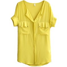 Yellow Chiffon Blouse with Twin Front Pockets and other apparel, accessories and trends. Browse and shop 8 related looks.
