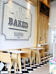 Valentina Bakery: Colombia Painted brick, timber wall details and black and white check flooring. Bakery Design, Cafe Design, Store Design, Logo Design, Cafe Shop, Cafe Bar, Logo Restaurant, Restaurant Design, Commercial Design