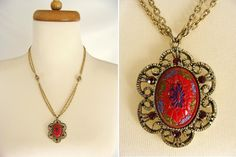 Ethnic Neklace. vintage 70s TARA Gold Tone Antiqued Pendant Necklace Moroccan Painted Resin Cabochon and Ruby Red Rhinestones. gift for her by wardrobetheglobe on Etsy
