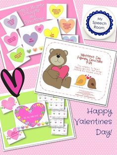 Three fun Valentine's Day activities to address language skills from My Speech Room http://www.teacherspayteachers.com/Product/Valentines-Day-Candy-Hearts-Concepts-and-Directions-512424