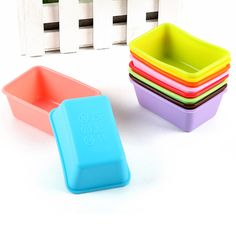 10 pcs/set Rectangle Silicone Small Loaf Pan Cake Mold Silicone Muffin Baking Cups Cupcake Pudding Mould Manual Soap Mould #Affiliate