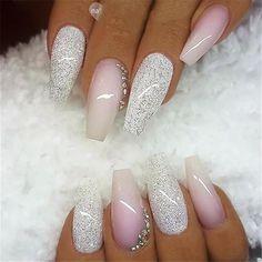 / bag Ballerina Nail Art Tips Transparent / Natural False Casket Nails Art Tips Flat Shape Full Cover Manicure Fake Nail Tips - - Cute Acrylic Nails, Acrylic Nail Designs, Nail Art Designs, Nails Design, Pink Nails, Glitter Nails, Gel Nails, Coffin Nails, White Nails With Glitter