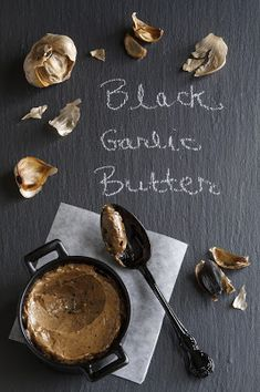 Black garlic butter - perfect on a crostini or as a spread for seafood Black Garlic, Homemade Pickles, Garlic Recipes, Veggie Recipes, Cooking Equipment, Fermented Foods, Garlic Butter, Sauces, Pesto